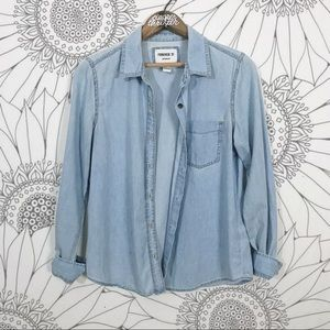 Chambray Long Sleeve Button Down Top
